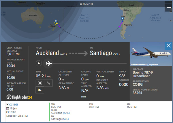 Here is a flight from Auckland, New Zealand to Santiago, Chile.