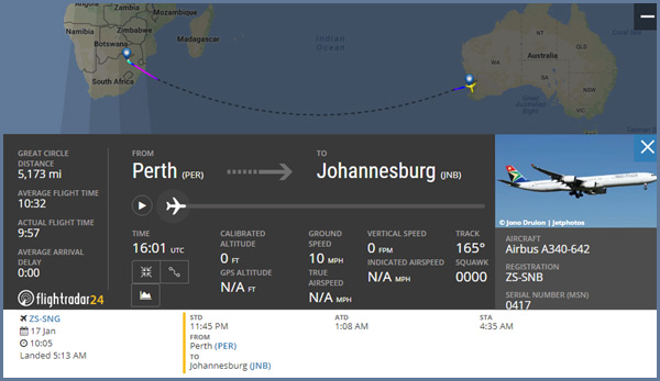 Here is a flight from Redcliffe, Australia to Johannesburg, South Africa. Flight time is 10h 32m.