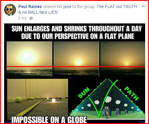 Flat earther Paul Raines Facebook post on sun shrinking in size