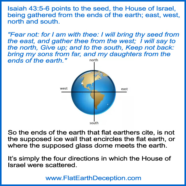 Isaiah 43:5-6 points to the seed, the House of Israel, being gathered from thefour corners of the earth; east, west, north and south.
