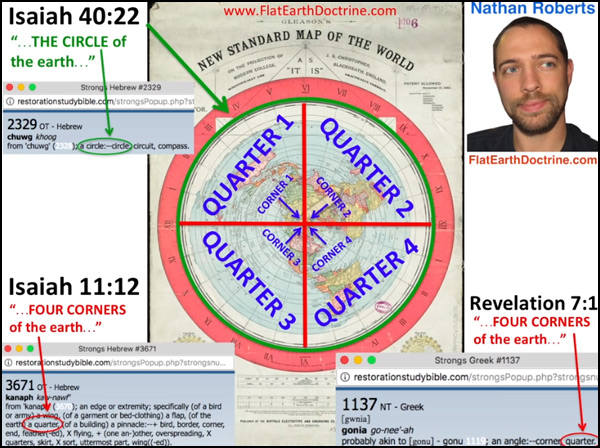 Nathan Roberts Flat Earth 4 corners of the earth on the Gleason map