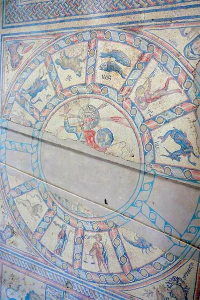 Jewish mosaic sun globe earth, 12 constellations in a circle