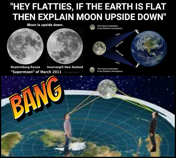 A flat-earther posted this explanation of how people on the flat earth can see the same side of the moon, just like they would on a globe earth.