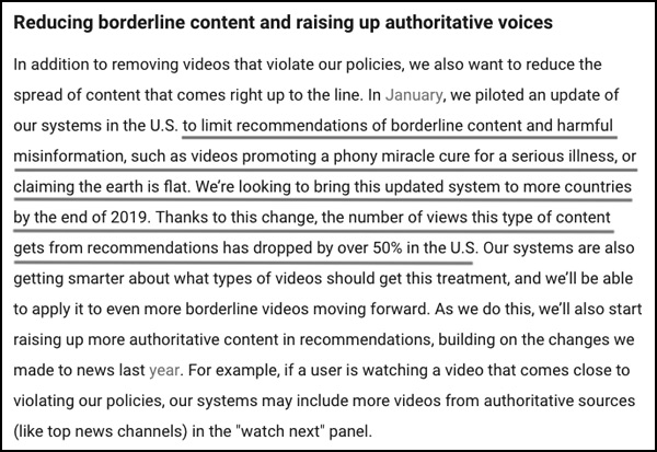 Nathan Roberts of FlatEarthDoctrine posted this notice from YouTube about limiting recommendations on flat earth videos.