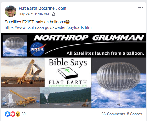 Nathan Roberts Flat Earth Doctrine Facebook post about balloon satellites
