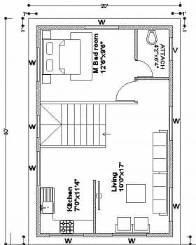 20x30 corner plot 1st floor plan