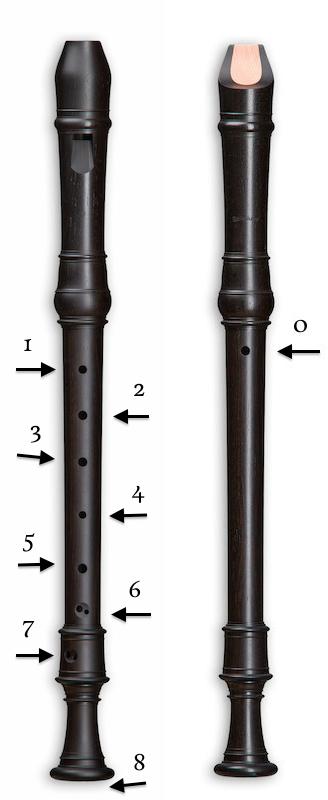 Numeración de los agujeros de la flauta de pico