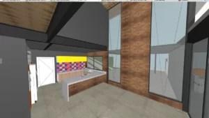 Perspectiva da Sala de Jantar e Cozinha da Casa Primavera
