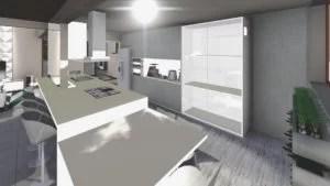 projeto de cozinha com bancada integrada a sala de jantar e mesa para 4 pessoas conjugada a bancada