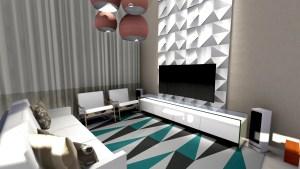 projeto de arquitetura de interiores para sala de tv com pé-direito duplo