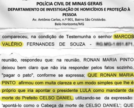Veja revela que Marcos Valério disse ao MP que Lula mandou matar Celso Daniel