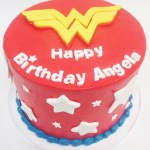 Wonder Woman cake with red frosting