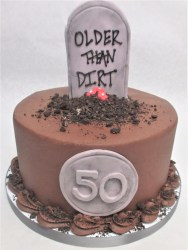 over the hill tombstone cake