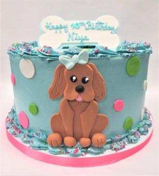 puppy dog polka dot cake