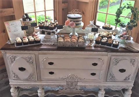pond view rustic wedding dresser dessert display