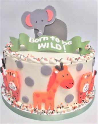 animal baby shower cake polka dots