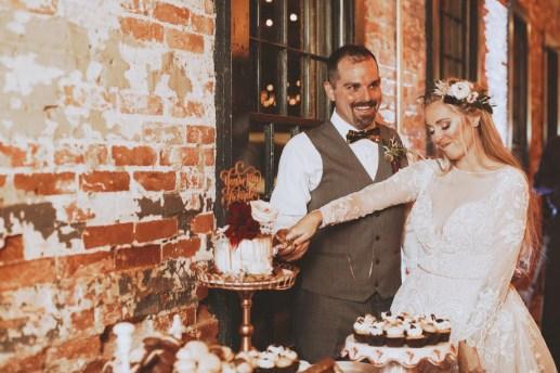 blushing bride wedding display