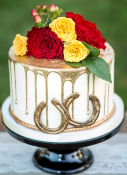 gold drip cake - equestrian wedding Kimberly Dean Photography