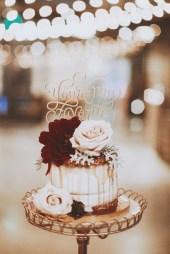 naked caramel drip cake - wedding display
