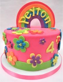 rainbow flowers birthday cake