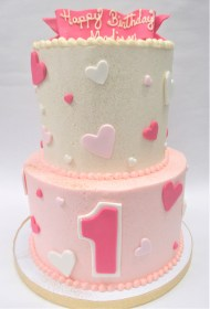 two tier basic heart cake