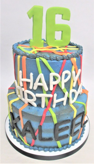 two tier laser tag birthday cake