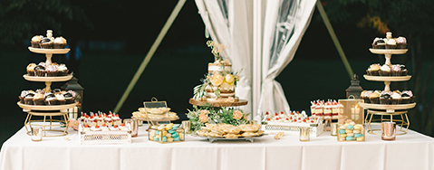 wedding dessert display - Elizabeth Fogarty Photography