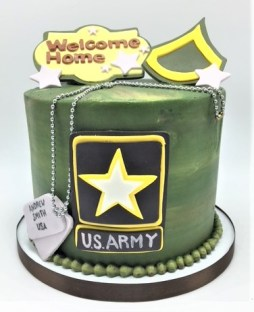 army camouglage dog tag cake
