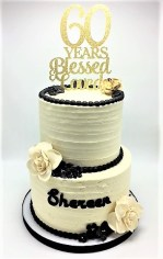 black and gold 2-tier 60th birthday cake with flowers (2)