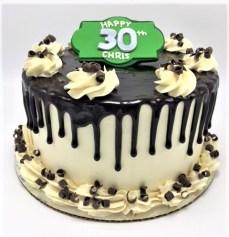 chocolate drip birthday cake