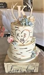 two tier birch tree wedding cake