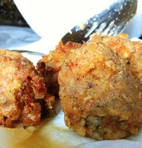 Recipe for Louisiana Boudin Balls - You can certainly eat it all alone, but these Boudin Balls make great appetizers or they'll work as a side to another dish.