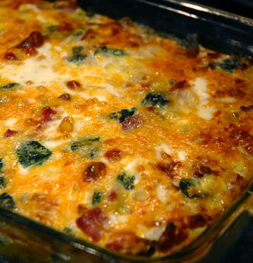 Recipe for Egg Ham and Spinach Hashbrown Casserole