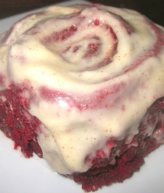 Recipe for Red Hot Velvet Cinnamon Rolls with Cinnamon-Cream Cheese Frosting