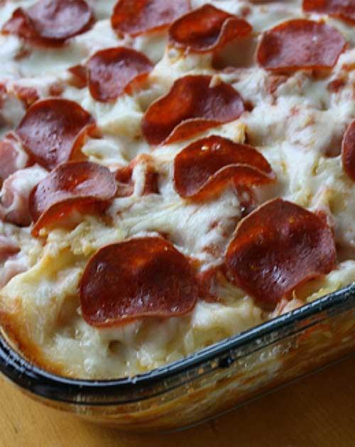 3 Meat Pizza Casserole
