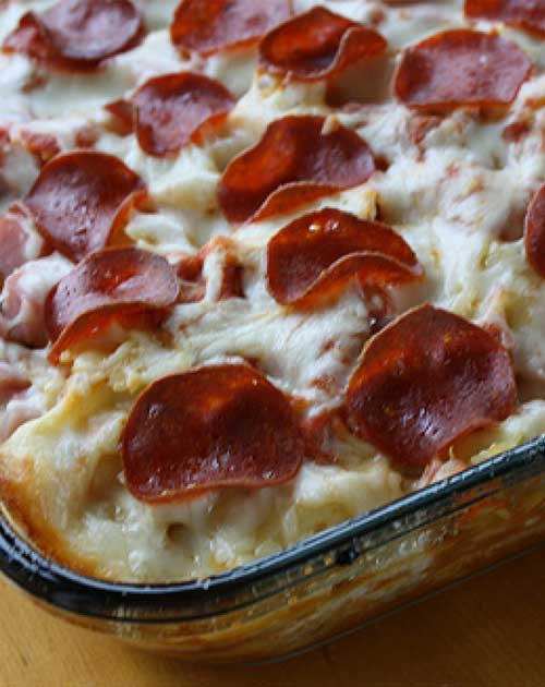Pizza was on the menu until I came across this 3 Meat Pizza Casserole Recipe. Just an excellent blend of flavors. This is a simple recipe-but there is some prep time involved. #casserole #pizzarecipe