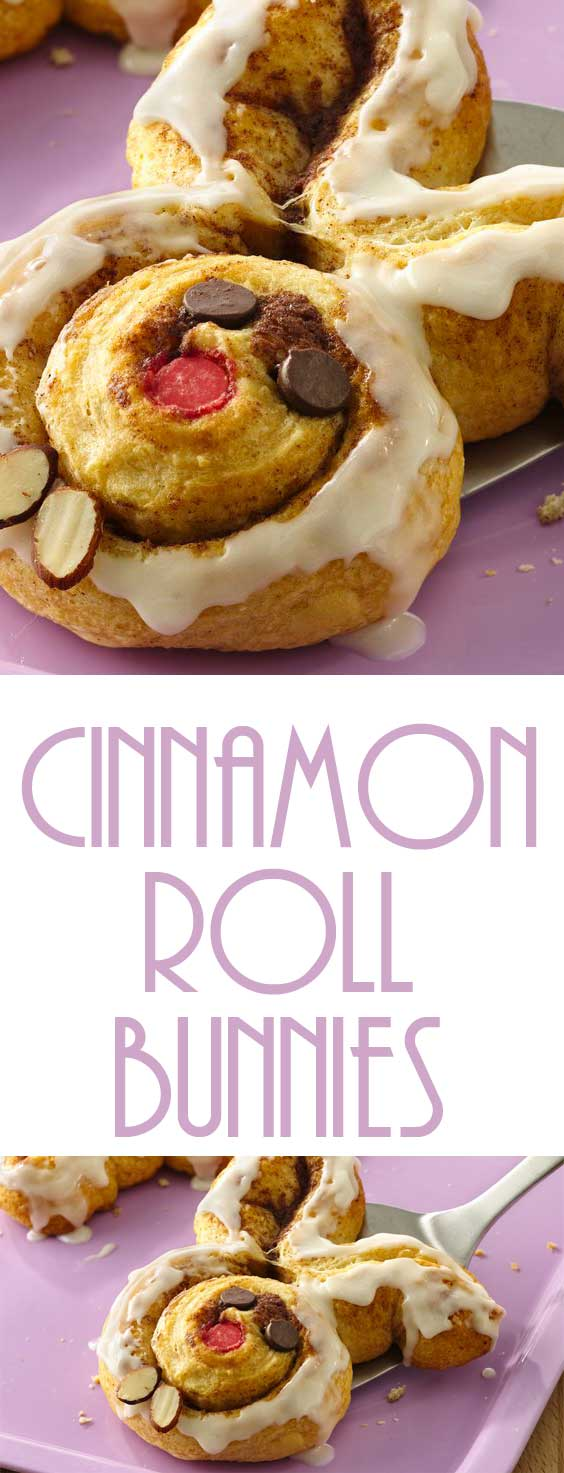 Cinnamon roll bunnies are a festive Easter breakfast.  These quick and easy cinnamon rolls can be baked amongst opening Easter baskets or enjoying an Easter egg hunt. #easterrecipe #easterbreakfast #kidfriendly