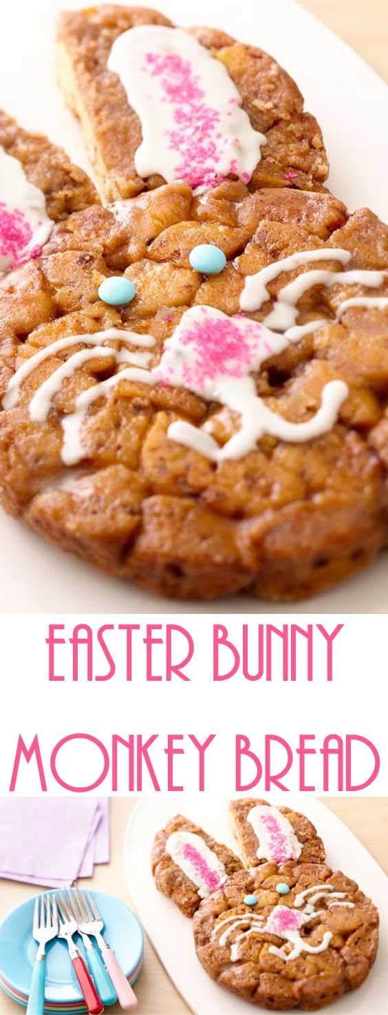 Easter bunny monkey bread is a festive way to present this breakfast favorite. Store bought cinnamon dough makes this recipe quick, easy and oh so adorable. #easterrecipe #easterbreakfast #cinnamonrolls
