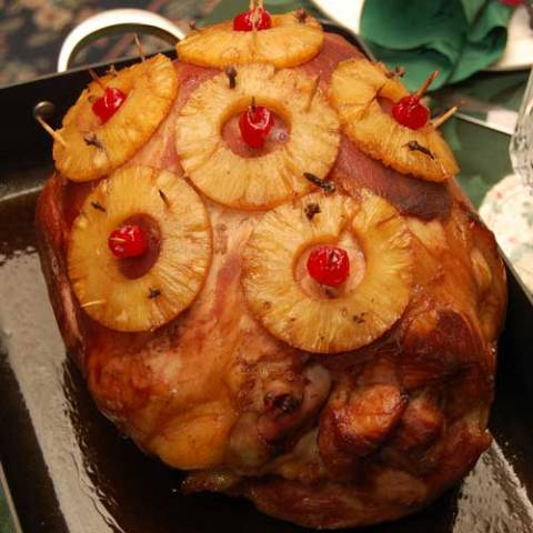 Recipe for Holiday Pineapple and Cherry Glazed Ham