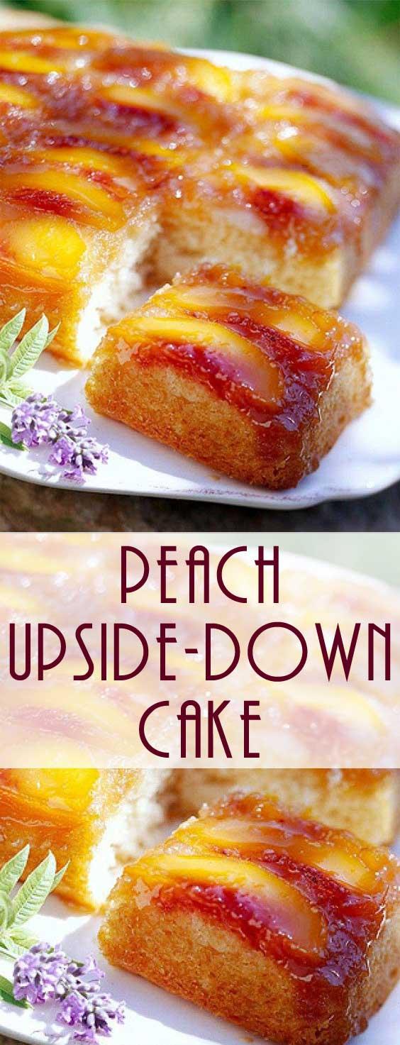 No box cake recipe here.. This Homemade Peach Upside Down Cake recipe is just like Grandma used to make! #cakerecipe #peachcake #peachdessert
