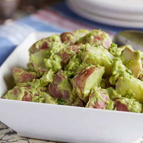 Recipe for Creamy Vegan Avocado Potato Salad - This classic potato salad features creamy avocado instead of mayonnaise, making it slightly green, I have a feeling no one will mind once they have a taste.