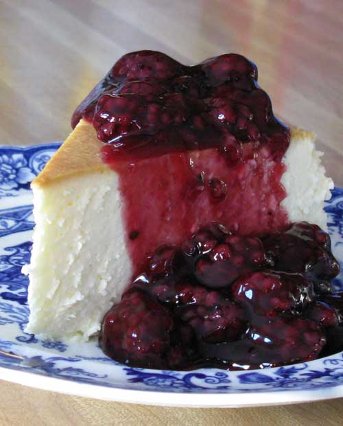 New York Cheesecake with Blackberry Topping