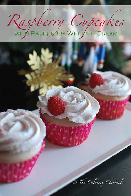 These Raspberry Cupcakes with Raspberry Whipped Cream are flavored with fresh raspberry puree. And instead of your standard buttercream, they are topped with rosette swirls of raspberry flavored whipped cream.