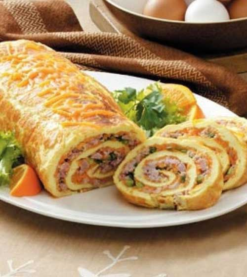 Ham n Cheese Omelet Roll