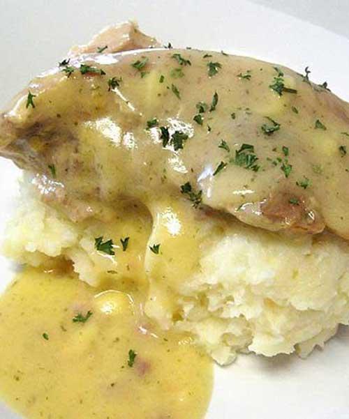 Ranch House Crock Pot Pork Chops with Parmesan Mashed Potatoes