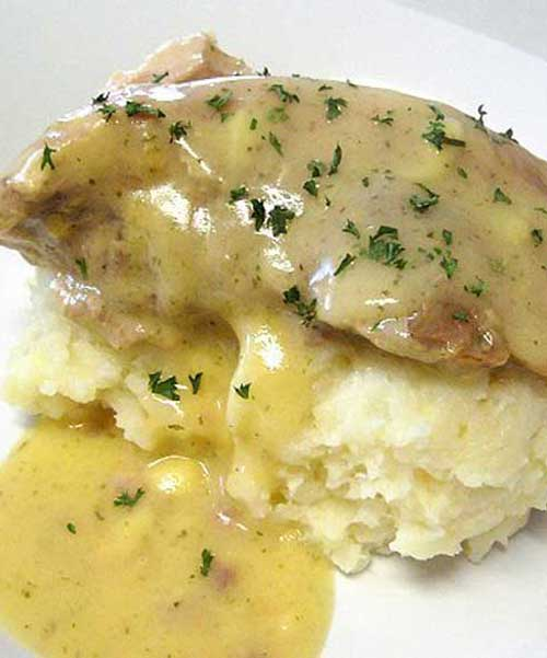 The ranch dressing in the gravy and the Parmesan and garlic in the potatoes complemented each other well. This Ranch House Crock Pot Pork Chops with Parmesan Mashed Potatoes is just delicious!