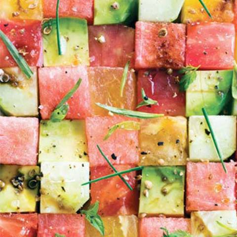 Recipe for Tomato and Watermelon Salad - If the idea of tomatoes and watermelon together sounds odd to you, this dish will be a revelation. There is a saying that what grows together goes together, and in this case it is true.