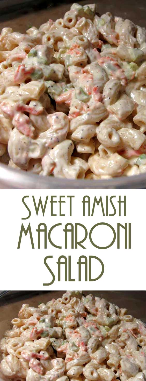 Absolutely the BEST macaroni salad! The mayo mixture in this Sweet Amish Macaroni Salad Recipe is what makes it so delightful — that bit of sweetness! #macaronisalad #amishrecipe #sidedish