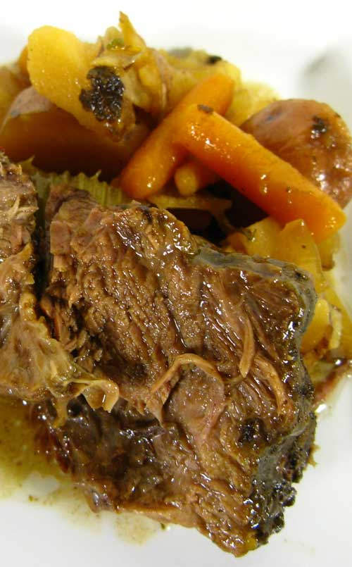 This recipe is hands down the best one I've ever used, and it's also the easiest and least expensive. You can prepare this dish in about 10 minutes first thing in the morning and come home from work to a house FILLED with the homey scent of pot roast.