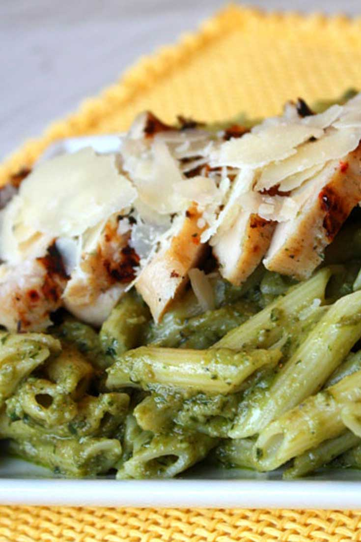 There were rave reviews all around for this Avocado Penne Pesto with Grilled Chicken! The avocado brings a creaminess and delicious flavor to the sauce and may even be better than traditional pesto! #chicken #pesto #avocado #pasta #dinnerideas